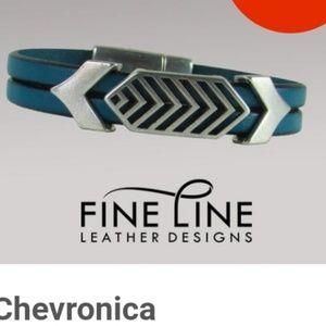 Chevron leather bracelet size small